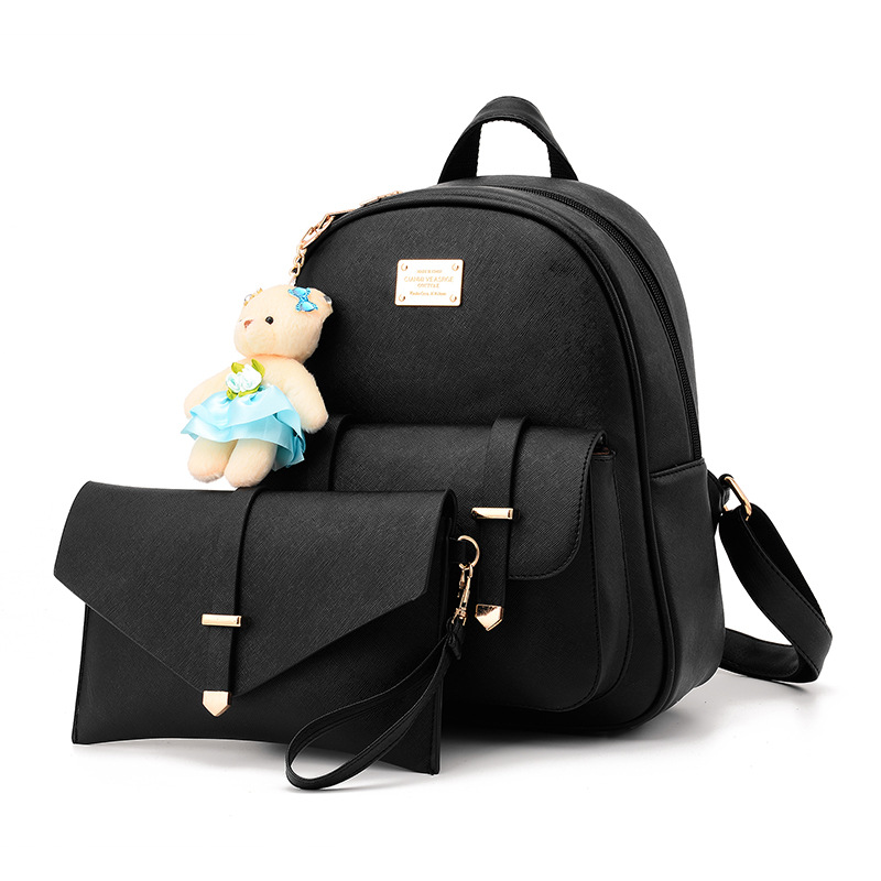 2017 New New Arrival 2pcs/set Small Bear Pendant Girls School Bag PU Women Backpack Double Zipper Women Bag Vintage Backpack Bag<br>