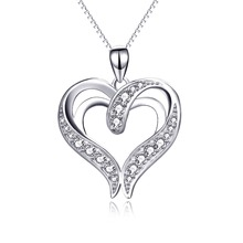 YFN Genuine 925 Sterling Silver Cross Love Heart Pendant Necklace Crystal CZ Romantic Necklace Gift For Women