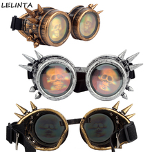 LELINTA 3D Skull Lens Glasses Halloween Cosplay Men Vintage Style Steampunk Goggles Party Women Gothic Costumes Eyewear(China)