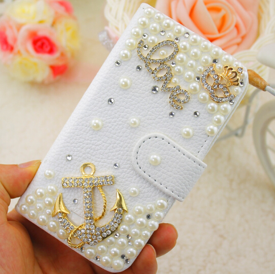 Luxury Bling Anchor Pearls Customized White Embossed PU Leather Case Cover for iPhone 5 6 7 for Samsung Phone Case