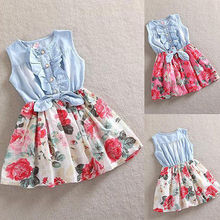 2016 Girls Summer Dress Flowers Sleeveless Denim Fashion Kids Bowknot Dress 1-7years