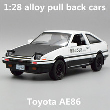 1:28 alloy pull back cars,high simulation Toyota AE86 car models,metal casting,toy vehicles,musical & flashing,free shipping(China)