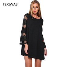 TEXIWAS 2017 women's long sleeves dress women clothing lace chiffon dress new white black lady casual loose dress