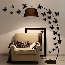 12Pcs/Set Pvc Black Butterfly Halloween Wall Sticker Home Decoration Accessories Girl 3D Vintage Wall Decals For Kids Room Y95
