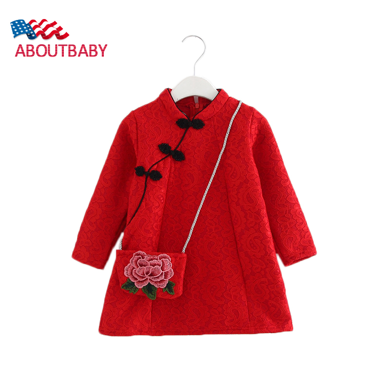 Girls Dresses Fashion Retro Winter Warm Lace Cashmere Long Sleeve Kids Dresses For Girls Dresses Children Clothing Tutu Dress<br><br>Aliexpress