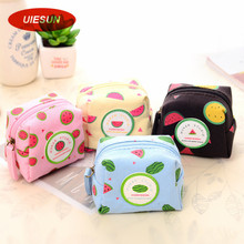 Candy Color Fruit Pattern Coin Change Purse Case Wallet Change Pocket Ladies For iPhone USB Cable Earphone Charger Bag UIE663(China)