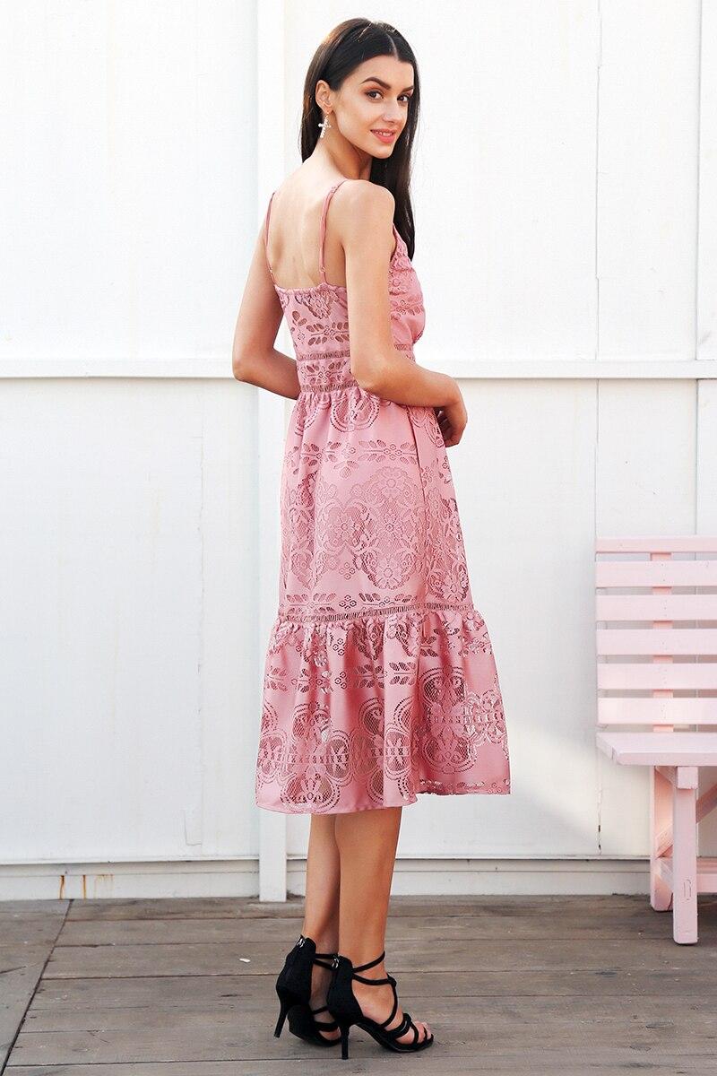 فستان للسيدان صيف 2018 مفتوح الاكتاف عالي الجودة باللونين الزهري والابيض 5