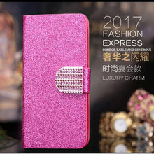 Luxury Bling Diamond Glitter Flip Case for Apple iphone 3 3G 3GS Leather Girl Bag Wallet Stand Rhinestone Glitter Cover(China)