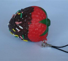 New Cute strawberry squishy charm / PU mobile phone strap / Retail(China)