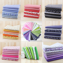 7pcs 50cm x47cm-50cm free shipping plain thin Patchwork Cotton dobby Fabric Floral Series Quilt Charm Quarters Bundle Sewing(China)