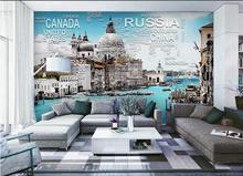 3d wallpaper custom photo non-woven mural wall sticker Water vessel, construction painting 3d wall room murals wallpaper(China)