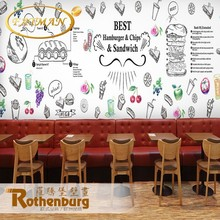 Custom photo wallpaper hand drawn cartoon hamburger western style wallpaper fast food restaurant wallpaper mural
