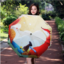 Digital Printing Fox Umbrella Folding Parasol for Women Men Anti-UV Sun/Rain UV Protection Quality Brand Style Paraguas SF0100