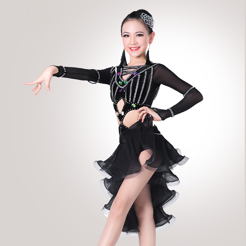 Luxurious Latin Dance Dressses For Americans Girls Long Sleeve Competitive Wear Flamenco Children Tango Ballroom Kid DNS1007