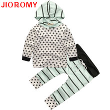 2017 Autumn Newborn Infant Baby Boys Set Long Sleeve T-Shirt + Pants 2 Pieces Cross Hoodies Cotton Home Apparel Comfort JIOROMY