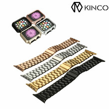 KINCO Replacement Comfortable Soft Perfect Stainless Steel Straps Watches Bands Strap+ Cover for Apple Watch 38mm for iwatch(China)