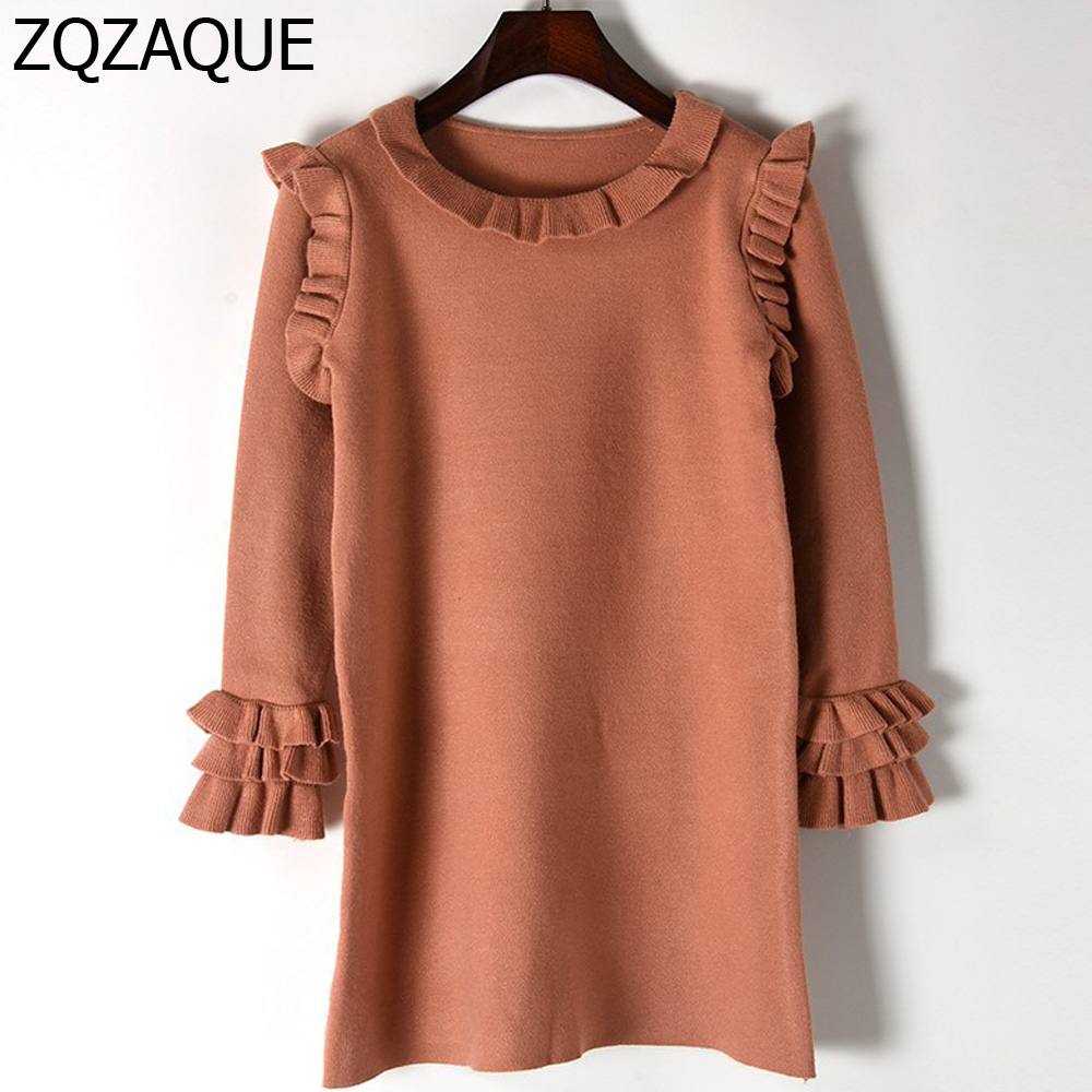 New Arrival Women Fall Winter Bottom Knitted Dress Long Sleeve Thick Warm Ruffle Decorated Females Sweet One-piece Dress SY1423Îäåæäà è àêñåññóàðû<br><br>