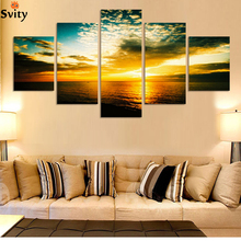 5 Piece The Yellow Sea And setting sun Modern Home Wall Decor Canvas Picture Art HD Print Painting On Canvas Artworks No frame