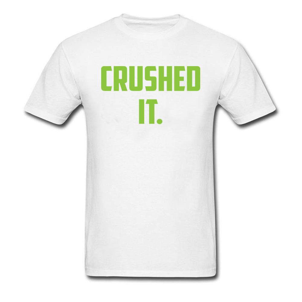Crushed It Summer T-Shirt for Men Pure Cotton Labor Day Tops Tees Print Tee Shirt Short Sleeve Retro Round Neck Crushed It white