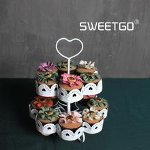 Cupcake Stands Two Tier White Wedding Cake Plates Home Baking Cake Shop Display Cake Tools Party Wedding Decoration(China)