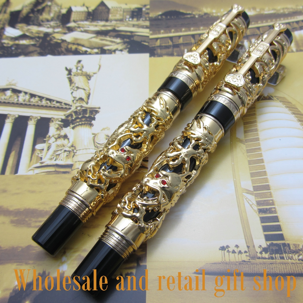 2pcs pen Jinhao Dragon Phoenix Heavy Gold Chinese Classical Luck Clip <br>