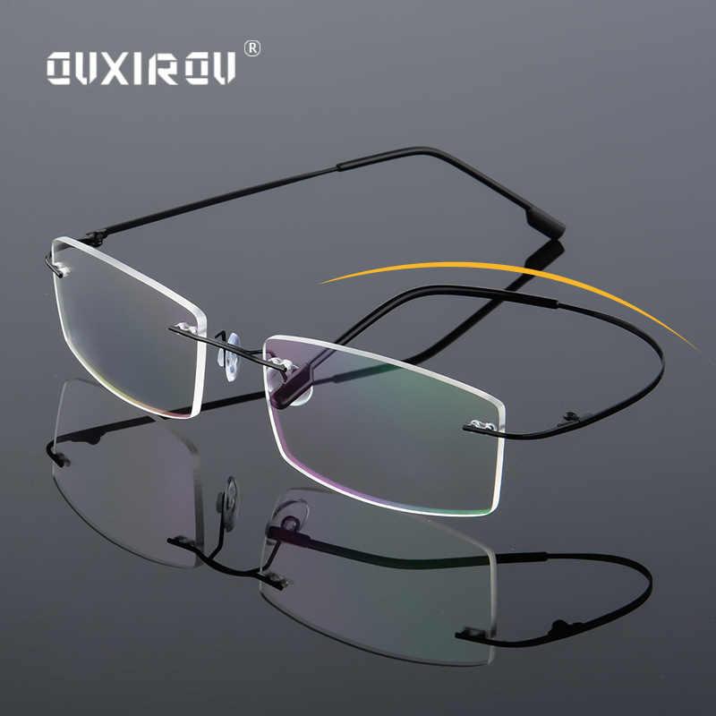 cd5789cd9bd Lightweight Rimless Glasses Frame Memory Titanium Eyeglasses Women Men  square Myopia Optical Glasses Frames Oculos De