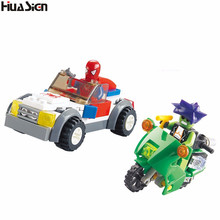 Boy's Favorite Toy! Kids Assembled Spiderman Motorcycle Car Model Building Bricks Blocks DIY Superman Action Figures Game Toys - Shop2841004 Store store