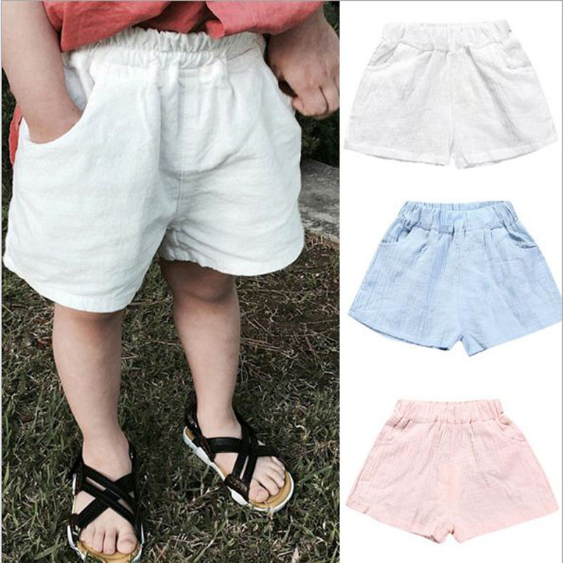 2017 summer 100% cotton casual shorts for 0-6Y Children boy white blue kid boy knee length trousers Toddler clothes