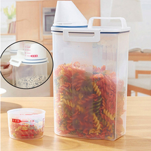 2.3L Large Capacity Storage Canister Rice Food Storage Container Jar with Lid and Measuring Cup(China)