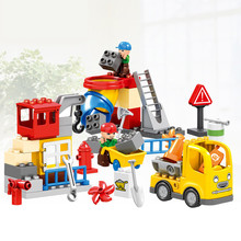 51PCS City Construction Team Worker Truck Crane Educational Brick Set Boys Role Play Toys Compatible with Duplo Christmas Gift(China)