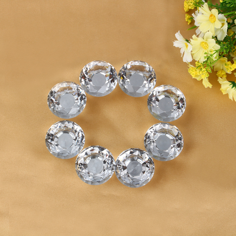 New Arrival 8Pcs/Sets 40mm Clear Crystal Glass Door Knobs Drawer Cabinet Furniture Kitchen Handle Durable(China)