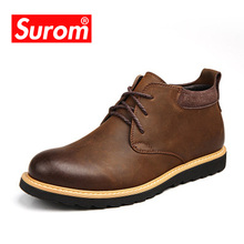 SUROM Classic Leather Men's Boots Autumn Winter Ankle motorcycle Boots Lace Men Martin Shoes Fashion bota masculina