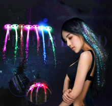 1pcs/lot Colorful Light LED Hair Braid Clip Hairpin LED Flash Light Birthday neon Party dance Celebration Supplies For Kid Adult(China)