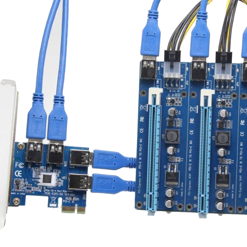 4 Slots PCI-E 1 to 4 PCI Express 16X Slot External Riser Card Adapter Board With IC heat radiator for BTC Miner<br>