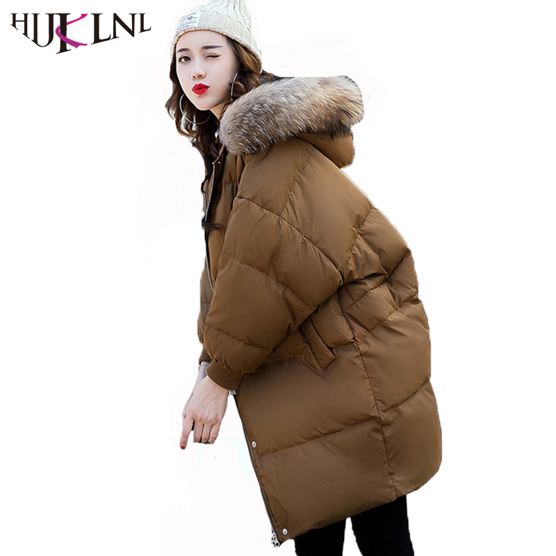 HIJKLNL Parka Mujer Women Winter Coat 2017 New Warm Thick Long Hooded Jacket With Fur Collar Batwing Sleeve Winter Jacket NA411Îäåæäà è àêñåññóàðû<br><br>