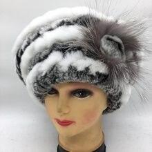 Marca real rex piel de conejo invierno mujeres boina suave elasticidad 100%  piel genuina sombrero d867bfa1495