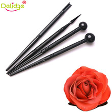 Delidge 4 pcs/set Flower Petals Modeling Mold Plastic Black Cake Decoration Pen Sugar Flower Sculpture Baking Decoration Pen(China)