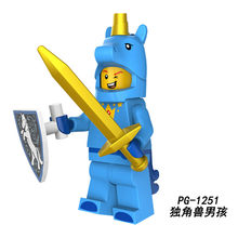 PG1029 Building Blocks Gingerbread Man Medusa Rocket Boy Unicorn Girl Statue of Liberty legoings Royal Family DIY Gift Toys Kids(China)