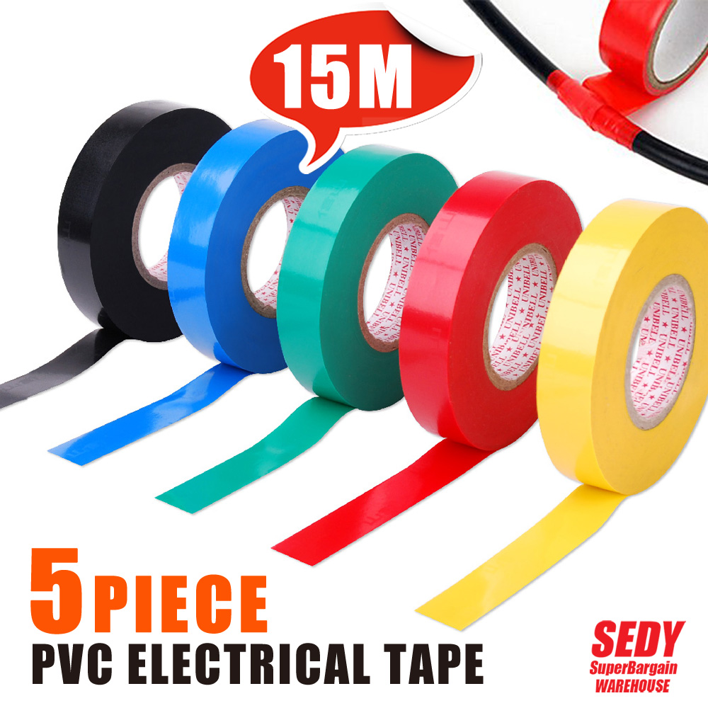 SEDY Tool 5 Kind Color 15M  Vinyl Electrical Tape Insulation Adhesive Tape Each One 16066-16070<br><br>Aliexpress
