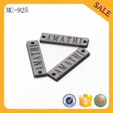 MC925 custom metal name letter garment accessory metal brand tag and logo label