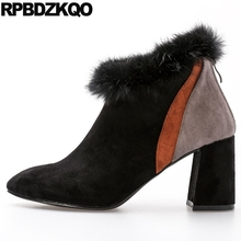 Short Suede Cheap High Heel Fur Shoes Winter Ankle Women Boots 2017 Chunky Size 4 Furry Black Pointed Toe Ladies Female Chinese(China)