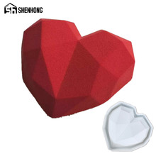 SHENHONG Diamond Heart 3D Cake Moulds Silicone Mold Geometric Square For Ice Creams Chocolates Pastry Art Pan Bakeware