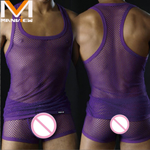 Men's Wholesale Export Sexy Underwear Vest Home Furnishing Mesh Sleeveless Transparent Tank Tops (not Include Boxers)(China)
