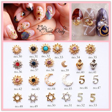 100pcs/bag 2015 New Design Charm Nail Jewelry sunflower 3D Alloy Nail Art Deco many Styling Tool DIY Nail Accessory(China)