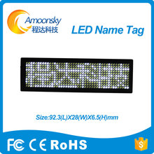 white led name tag scrolling screen business card tag display advertising rechargeable programmed digital display english(China)