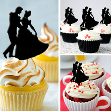 Free Shipping 8pcs/Set Bride & Groom Wedding Acrylic Cupcake Topper Valentines Gift/ Bridal Shower Cup Cake Toppers Decorations(China)