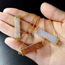 WT-N373 Hot!Fashionable jewelry Natural druzy necklace white and orange necklace with double loops in free shipping