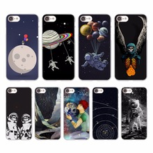 astronaut Travel outer space Design hard White Skin Case for Apple iPhone 7 7Plus 6s 6 Plus SE 5 5s 5c