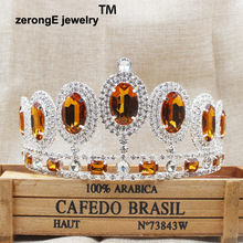 3.4inch Gorgeous Sparkling silver peacock style carnival hair jewelry tiara brown color rhinestone hair jewelry crown tiara