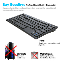 Portable 2GB+32GB Mini PC For Windows 10 All in One Keyboard PC Thin Client 72 Key for Intel core HD VGA TF Card Slot Wifi BF